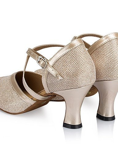 danse Personnalisables Cuir Jaune Bottier Similicuir Non de Argent Latine Chaussures ShangYi Brillante Talon champagne Paillette Jazz HxwYaqCEp