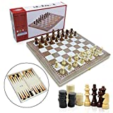 3 in 1 Wooden Travel Game Set Chess, Checkers, Backgammon Set for Adults