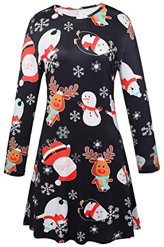 LaSuiveur Women's Santa Claus Xmans Print Christmas Flared A Line Dress (Teen Christmas Dress)