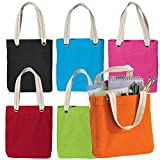 100% Garment Washed Cotton Canvas Colorful Allie Stylish Fancy Daily Tote Bag (PACK OF 8, Assorted-All-Colors (8 PACK))