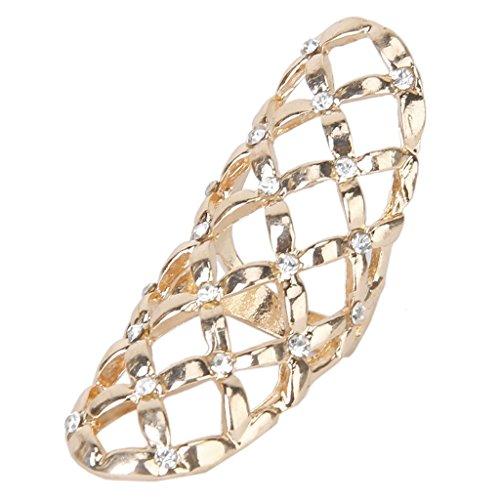 CJESLNA Fashion Punk Style Rhinestone Hollow Fingers Ring-Golden