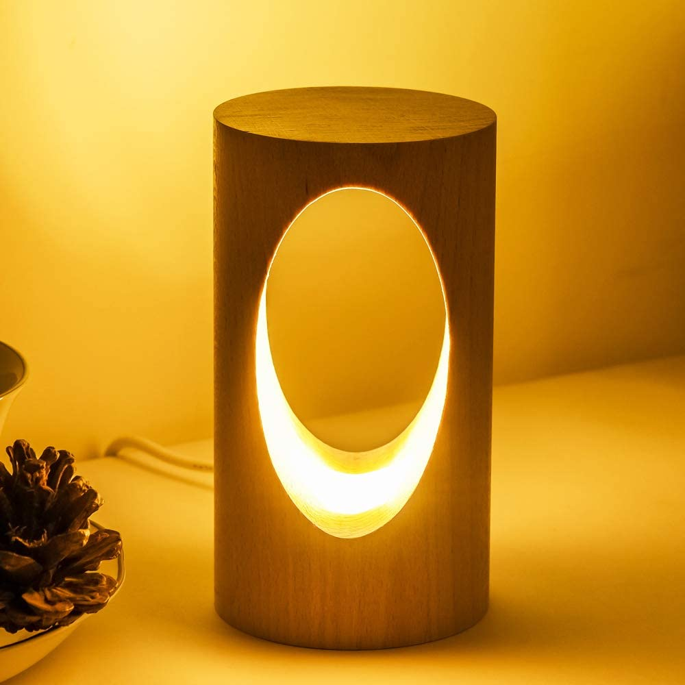 LONRISWAY LED Wood Desk Lamp, Bedroom Bedside Night Light, Dimmable Led Lighting, Creative Home Decor Table lamp, Unique House warmging Gift