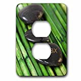 3dRose Andrea Haase Still Life Photography - Zen Style Still Life With Engraves Pebble And Word Relax - Light Switch Covers - 2 plug outlet cover (lsp_276235_6)