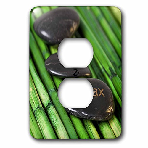 3dRose Andrea Haase Still Life Photography - Zen Style Still Life With Engraves Pebble And Word Relax - Light Switch Covers - 2 plug outlet cover (lsp_276235_6) by 3dRose