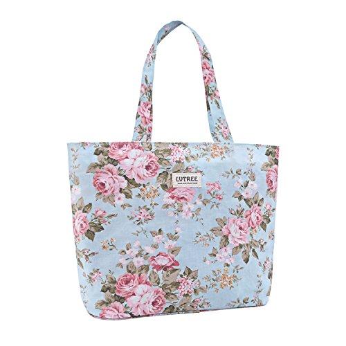 Lvtree Tote Shoulder Bag Handbag, Foldable Wallets Purse Bag for Outdoors Gym Hiking Picnic Travel Beach, Blue Rose