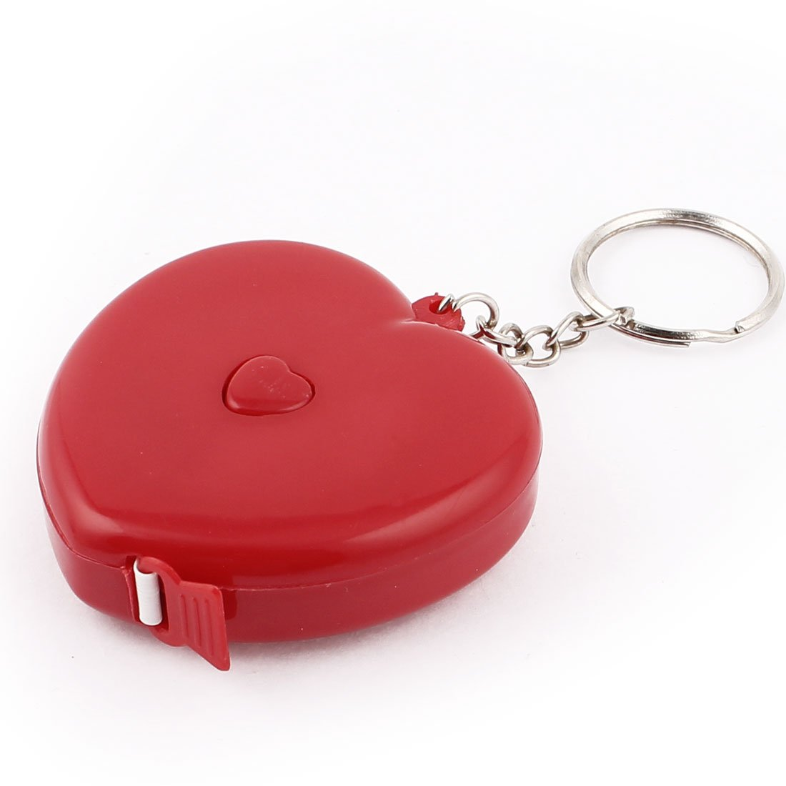 Sourcingmap/® Plastic Heart Shaped Retractable Measuring Tape Ruler Keyring 1.5M Red