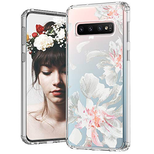 MOSNOVO Galaxy S10 Case, White Floral Flower Petal Pattern Printed Clear Design Transparent Plastic Hard Back Case with TPU Bumper Protective Case Cover for Samsung Galaxy S10