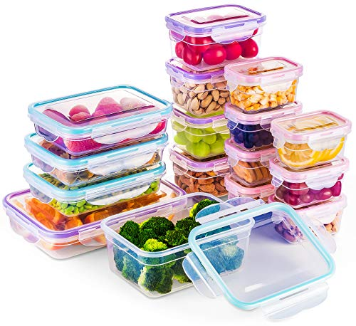 - [16 Pack] Food Storage Containers with Lids, Plastic Food Containers with Lids, Airtight Storage Container Sets for Healthy Diet, Vegetables, Snack & Fruit (Small&Large Size), BPA Free & Leakproof