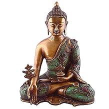 "Aone India Medicine Buddha Statue- Buddhist Healing Shakyamuni Figurine for Peace and Relaxation- 11"" Large Brass Turquoise Coral Lapis Tibetan Nepal Buddha + Cash Envelope (Pack Of 10)"