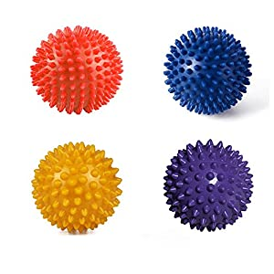 """Randemfy 3"""" Massage Ball Spiky for Deep Tissue Foot Trigger Point Foot ,Back, Mobility, Acupressure, Plantar Fasciitis, Reflexology & All Over Body Deep Tissue Muscle Therapy - Pack of 4 from RANDEMFY"""