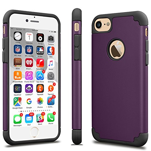 Dark Purple Case (iPhone 7 Case, Tekcoo™ [TBaron Series] iPhone 7 (4.7 INCH) Bumper Case Shock Absorbing Hard Hybrid Slim Thin Cute Cover [Scratch Proof] Plastic Shell + TPU Rubber Inner)