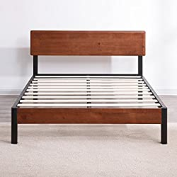 Classic Brands DeCoro Portland Wood Slat and Metal Platform Bed Frame with Solid Wood Headboard | Mattress Foundation, Full