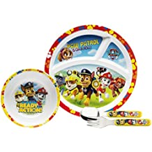 Zak Designs PWPD-3870 4 Piece Break Resistant and BPA free Plastic Toddlerific Paw Patrol Boy Mealtime Set includes Sectioned Plate, Bowl and Flatware Utensils, Multicolor