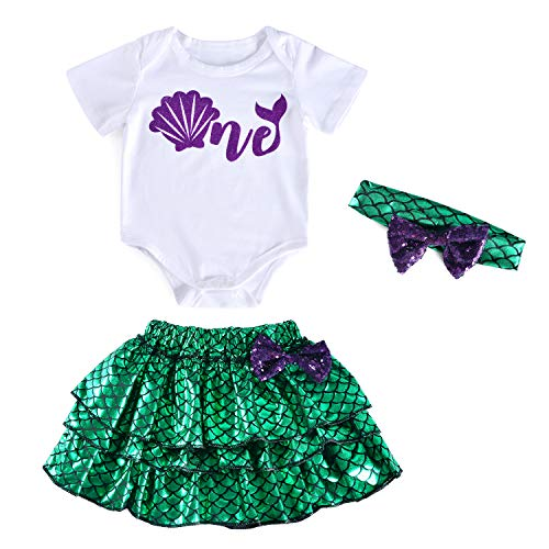 (3PCS Toddler Baby Girls Little Mermaid Dress up Skirt Shell Baby Costume With Headband 2t)