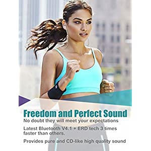 Wireless Bluetooth Headphones, Yuwiss Wireless Sports Running Headphones Lightweight with Mic Stereo Noise Cancelling Sweatproof Cordless Earphones in Ear Headsets Earbuds for iPhone (Rose gold)
