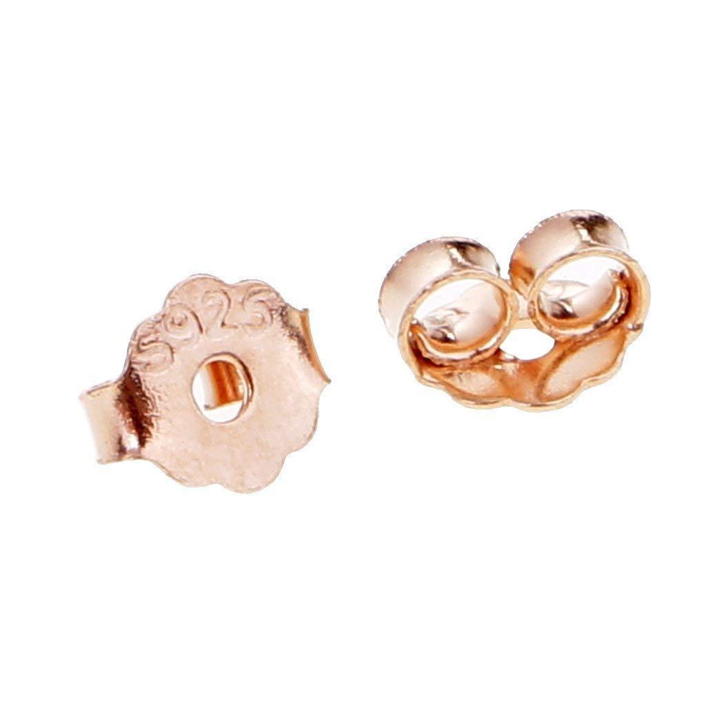 10 pares de pendientes de tuerca de plata de ley 925 oro rosa