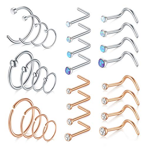 Flat Ring Cbr - MODRSA 18G Nose Rings Hoop Surgical Steel Nose Rings Studs Screw L-Shaped Nose Stud Tragus Cartilage Helix Earrings Hoop 28pcs Nose Piercing Jewelry Set