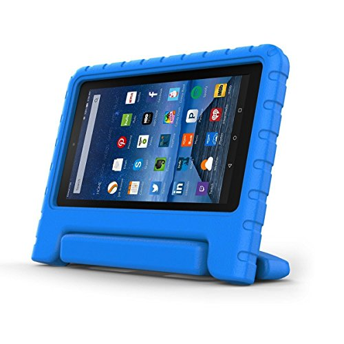 Photo - Fire 7 2015 Case - CROMI Kids Shock Proof Convertible Portable Handle Super Protective Stand Cover for Amazon Kindle Fire Tablet 7 inch Display 5th Generation 2015 Release Only, Blue