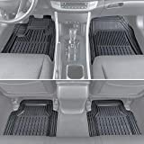 Motor Trend MT190 FlexTough Semi-Custom Fit Car Mats for Auto-Odorless Heavy Duty Rubber Floor Liners 4 Pieces Set-Trimmable (Black)