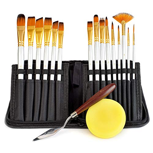 Artist Paint Brush Set, 15 Brushes in Variety of Shapes & Sizes in a Pop-up Canvas Carrying Case with Bonus Palette Knife & Sponge. Artist Quality, Perfect Gift, for Acrylic, Oil, Watercolor,Gouache