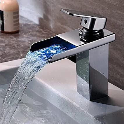 Wovier LED Chrome Waterfall Bathroom Sink Faucet Water Flow, Single ...