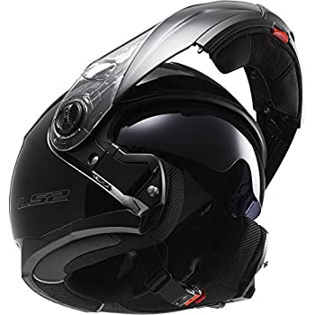 LS2 Helmets Strobe Solid Modular Motorcycle Helmet with Sunshield (Black, XX-Large)