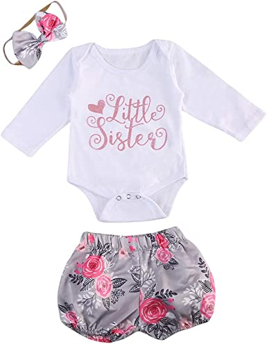 Little Sister Newborn Outfit Baby Girl Romper Short Sleeve Bodysuit+Pink Short Summper Outfits Sets