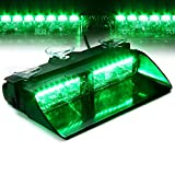 Xprite Green 16 LED High Intensity LED Law Enforcement Emergency Hazard Warning Strobe Lights For Interior Roof / Dash / Windshield With Suction Cups (GREEN)