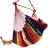 Large Brazilian Hammock Chair by Hammock Sky® - Quality Cotton Weave for Superior Comfort & Durability - Extra Long Bed - Hanging Chair for Yard, Bedroom, Porch, Indoor / Outdoor (Hot Colors)