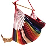 Large Brazilian Hammock Chair by Hammock Sky - Cotton Weave - Extra Long Bed - Hanging Chair for Yard, Bedroom, Porch, Indoor/Outdoor (Hot Colors)