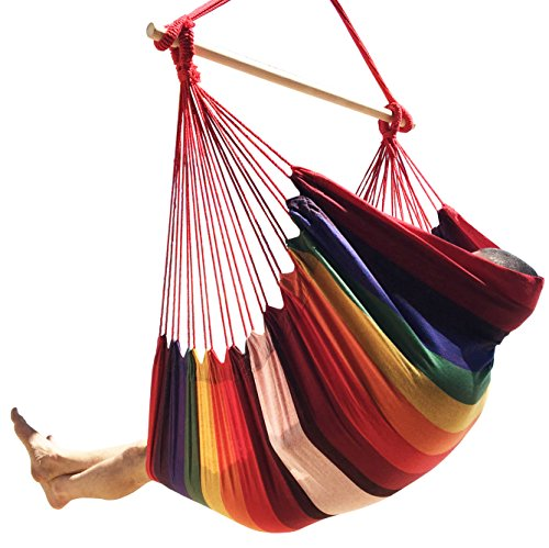 Large Brazilian Hammock Chair by Hammock Sky - Quality Cotton Weave for Superior Comfort & Durability - Extra Long Bed - Hanging Chair for Yard, Bedroom, Porch, Indoor / Outdoor (Hot Colors) - Swing Away Seat