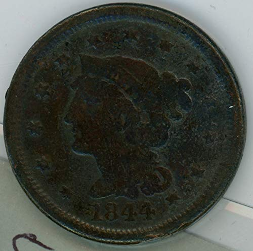 1844 P Braided Hair Large Cent 1C Average Circulated