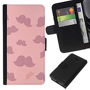 KLONGSHOP // Tirón de la caja Cartera de cuero con ranuras para tarjetas - bigote rosadas nubes púrpuras minimalista - LG OPTIMUS L90 //