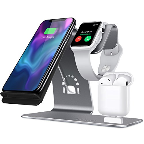 Bestand H05-Grey 3 in 1 Aluminum Apple iWatch Stand, Airpods Charging Station, Qi Fast Wireless Charger Dock for iPhone X/8/7/6s Plus Samsung S8 and other Qi-Enabled Devices, Grey by Bestand