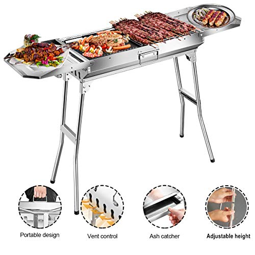 Goozegg 44-Inch Portable Charcoal Grill Heavy-Duty Stainless Steel Barbecue Folding Camping Grill for Outdoor Cooking, Backyard, Patio, Picnic, Park