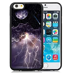 NEW Unique Custom Designed iPhone 6 4.7 Inch TPU Phone Case With Moon Asteroids Storm Clouds Lightning_Black Phone Case wangjiang maoyi