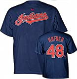 Majestic Cleveland Indians #48 Travis Hafner MLB Navy Tee Shirt Big & Tall Sizes