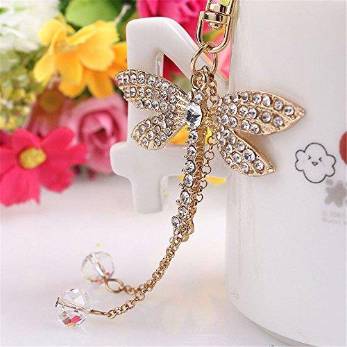 JewelBeauty Crystal Dragonfly Keychain Sparkling Keyring Rhinestones Fashion Jewellery Purse Pendant Handbag Charm Gift for Women Girl Handmade Jewelry ()