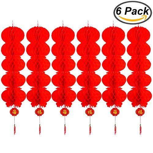 Resinta-6-Pack-Red-Paper-Hanging-Lanterns-Chinese-New-Year-Lantern-for-Chinese-Festival-Celebration-Decoration-or-Party-Supplies-5-vertical-linear-array-lanterns