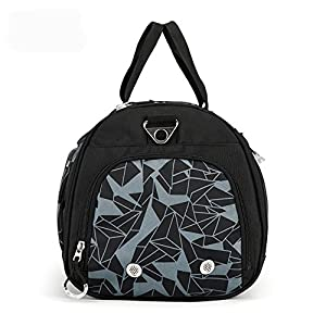 Sports Gym Bag with Shoes Compartment Travel Duffel Bag for Men and Women (geometry grey)
