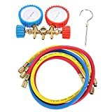 Qiilu Refrigerant Air Conditioning Tools AC Diagnostic Manifold Gauge Set W/Hose and Hook Kit