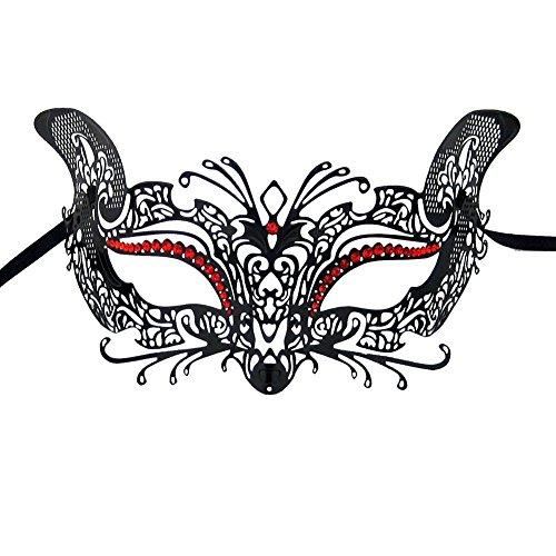 Xvevina Venetian Cat Metal Laser Cut Masks Masquerade Ball Women for Party (black metal red stones)