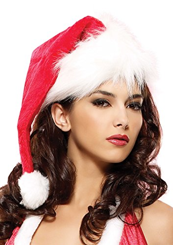 Leg Avenue Women's Velvet Santa Hat, Red/White, One Size for $<!--$5.00-->