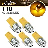 1995 dodge ram 3500 cab lights - Partsam T10 LED Light Bulbs 5pcs 10-3528-SMD Chipset 194 168 Amber LED Replacement Bulbs for Jeep Ford Dodge Chevrolet GMC Pickup Truck Cab Marker Roof Running Top Clearance Light 12V (Pack of 5)
