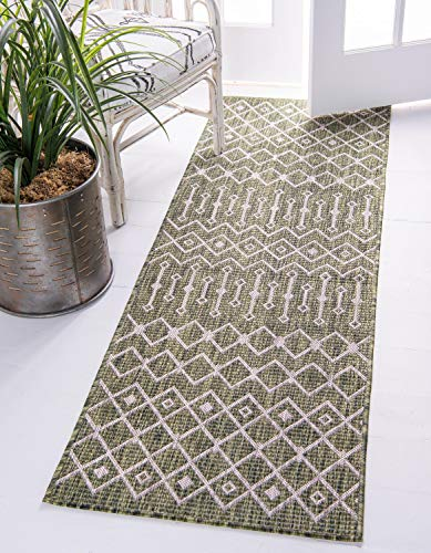 Unique Loom Outdoor Trellis Collection Tribal Geometric Transitional Indoor and Outdoor Flatweave Green   Runner Rug (2' x 6') from Unique Loom