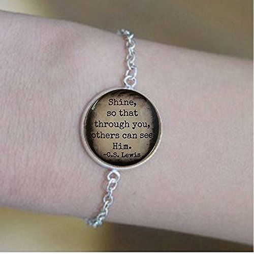 yijun C.S. Lewis Quote Bracelets | Shine Quote | Glass Bracelets | Shine Your Light Christian Gift | Religious Gift -