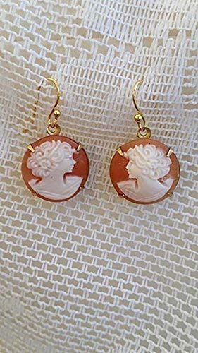 Victorian Style Cameo Earrings Real Carved Shell Carnelian