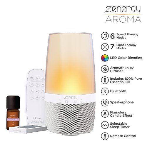 (iHome Zenergy Aromatherapy Diffuser Bluetooth Speaker Sound Machine Open Your Senses, Light Therapy, Sound Therapy, Color Changing, Relax to Zen Therapy Soothing Sounds & Aroma Therapy Oils)