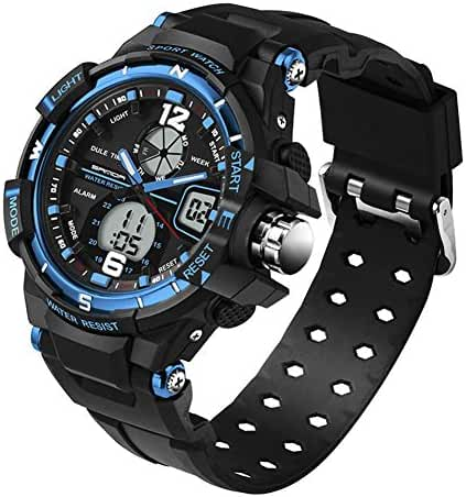 5ATM Multi-function Junior's Outdoor Sports Digital Dual Time Waterproof Watches Black Blue Ages 11-20