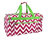 Snowflake Designs Pink, White, and Neon Green Chevon Duffel Bag